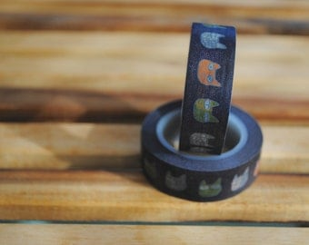 Washi Tape Roll (1) Black/ Cats