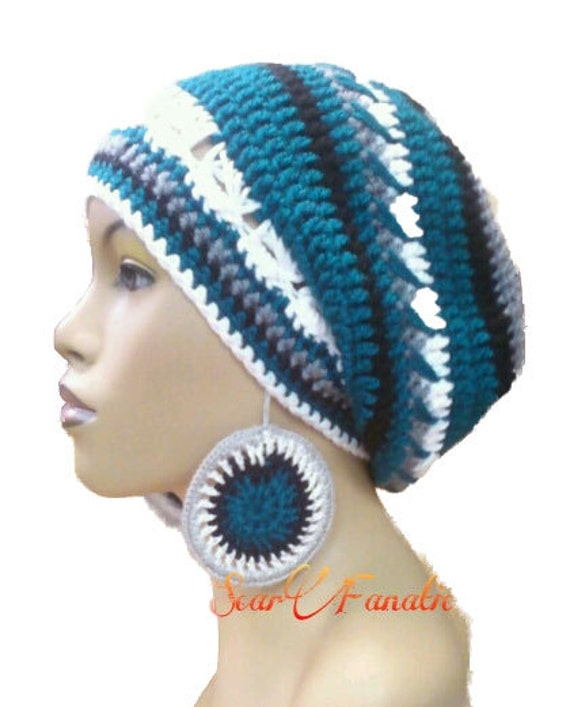 Clearance Item Philadelphia Eagles colors Slouch hat Slouchy Beanie Slouchy Beret w free crochet earrings Cotton blend
