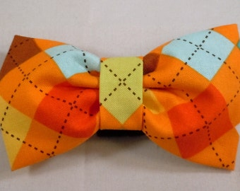 Dog Flower, Dog Bow Tie, Cat Flower, Cat Bow Tie - Bermuda Argyle
