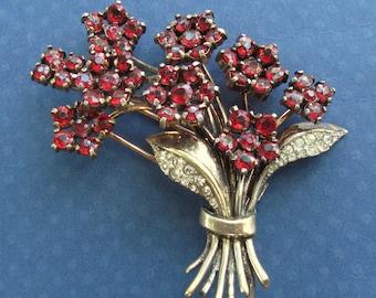 Trifari Flower Bouquet Brooch Sterling Silver Vermeil Red Rhinestones Antique Fur Clip Circa 1940 Art Deco Pin