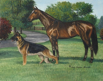 Bluegrass Reverie, German Shepherd print by Cindy Alvarado