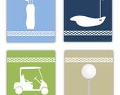 Golf Art for Kids // Golf Decor Art Prints // Golf Nursery Wall Art // Set of Four 8x10 prints with a BONUS print