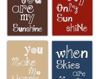 You are my sunshine Art Prints, 4-8x10 prints, Matches Boy or Girl Nursery, nursery, or playroom
