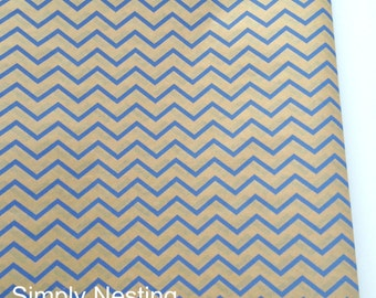10 sheets...Kraft with Blue Chevron Stripes... Tissue Paper Sheets, Kraft tissue Paper, Blue Chevron Tissue Paper