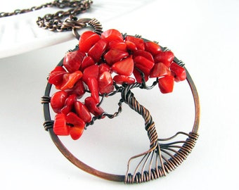 Tree Of Life Necklace Wire Wrapped Pendant Red Bamboo Coral Copper Necklace