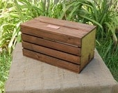 Personalized Wedding Envelope / Gift Card Crate - Wine Box -  Stained - Rustic  **Side Slat Spaces**