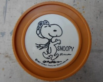 Vintage Peanuts 1960s Snoopy Red Baron Small Thermos 1965 Charles Schulz Plastic Insulated Jar Made in Norwich Ct.