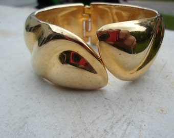 Vintage Gold Tone Clamper Bracelet Shiny 1960s to 1970s Chunky Wide