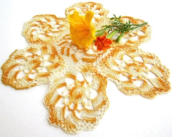 Vintage Hand Crocheted Doily in Varigated Yellow Gold Ivory, Shabby Chic, Romantic Doilies 1960 1970