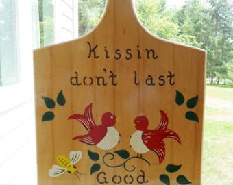 Vintage Wood Cutting Board Decorative Tole Painting Wall Hanging Red Birds Kitchen Kiss the Cook 1970s Retro Dutch Mid Century Large