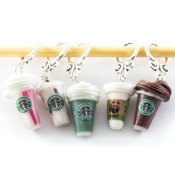 "Knitting stitch markers - miniature ""Starbucks"" by Cofanetto"