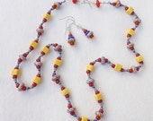 Primary Colors Casual Necklace Set Featuring Striped Glass Beads, 20 inches (50cm) Long, Hand Knotted Glass and Ceramic Beads with Earrings