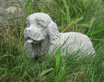 Spaniel Dog Statue, Concrete Spaniel Cement Statues, Figures Of Dogs And Pets For Home And Garden Decor Or Memorial Stones