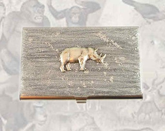 Rhino Business Card Case Inlaid in Hand Painted Silver Enamel Rhinoceros Metal Wallet Personalized and Custom Color Options