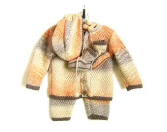 Knitted Baby Set - Cardigan, Pants, Bonnet and Booties - Multicolor, 9 - 12 months