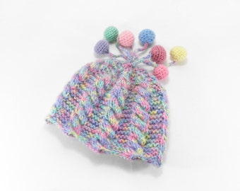 Hand Knitted Baby Hat - Pastel Colors, 6 - 12 months