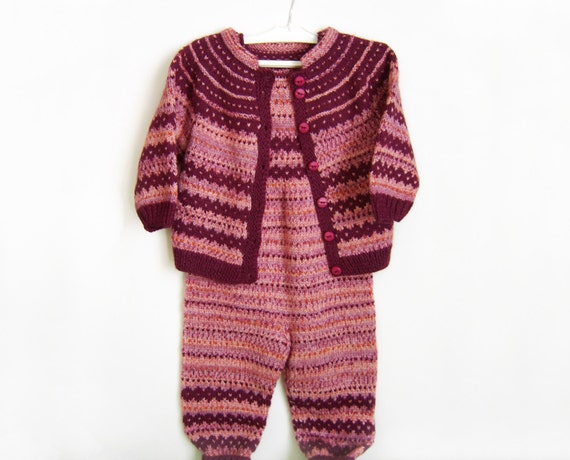 Hand Knitted Baby Set - Cardigan and Pants - Shades of Red, 2 - 3 years