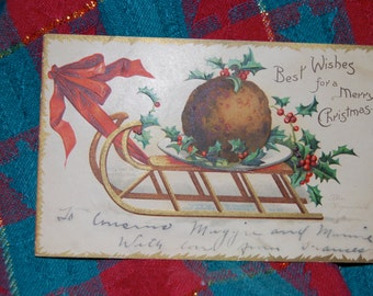 Antique Christmas Post Card of Winter Sleigh with Cookie, Holly and Berries Postmarked December 2?, 1912 from SC to SC  Epsteam