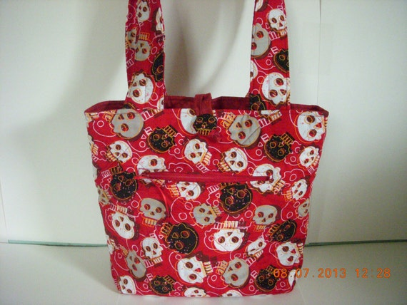 SALE Skulls on Blood Red Quilted Purse with Blood Red Lining & Free Cell Phone Ipod Holder