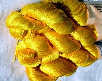 Viscose yarn ajur, Viscose Silk Yarn, natural viscose yarn: Shining, Superfine Lace weight, bright crochet yarn, bright yellow (121) EQ