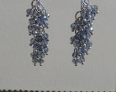 Light Blue Crystal and Silver Cluster Dangle Earrings