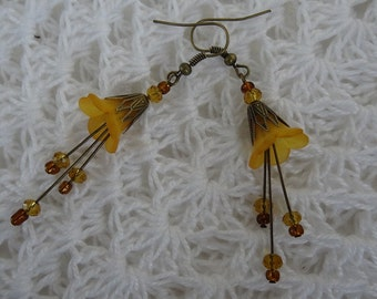 Bronze and Gold Lucite Flower and Czech Crystal Earrings