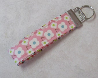 Sale Handmade Key Chain, Fabric Key Fob, Key Strap - Pink, Green and Blue Floral and Stripe