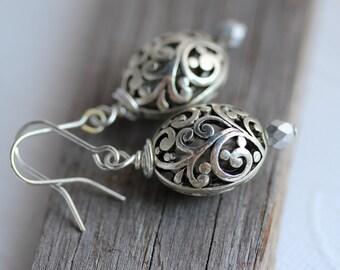 Silver Vine Earrings, Silver Drop Earrings, Silver Dangle Earrings, Swirl Vine Earrings, Silver Earrings, Dangle Earrings, Drop Earrings