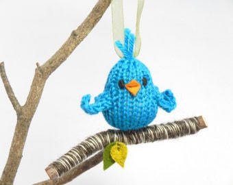 Blue Bird on Branch Ornament, Knit Bird, Easter Spring Holiday Christmas Ornament, Holiday Decor, Woodland Decoration, Natural Fibers