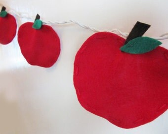 Felt Red Apple String Lights/Night Light, Teacher Classroom Wall Decor