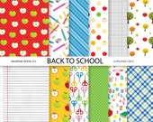 Back To School Paper Pack,  Digital Scrapbook Paper- 12 jpg files 12x12 - INSTANT DOWNLOAD Pack 552