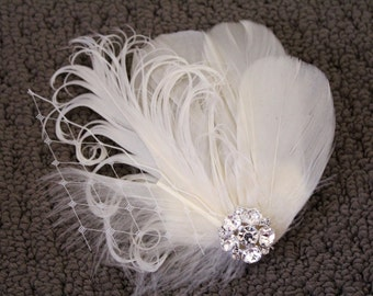Wedding Bridal Ivory Feather Rhinestone Jewel Veiling Head Piece Hair Clip Fascinator Accessory READY TO SHIP