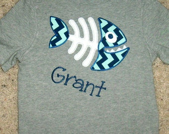 Custom Boutique Bone Fish applique shirt or onesie