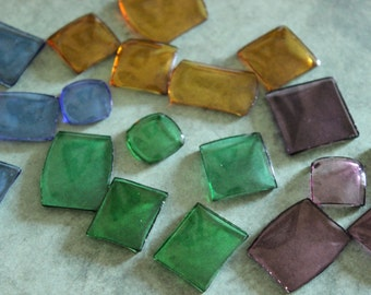 4 Vintage Glass Colored Watch Crystals