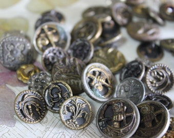 5 Antique Victorian Buttons