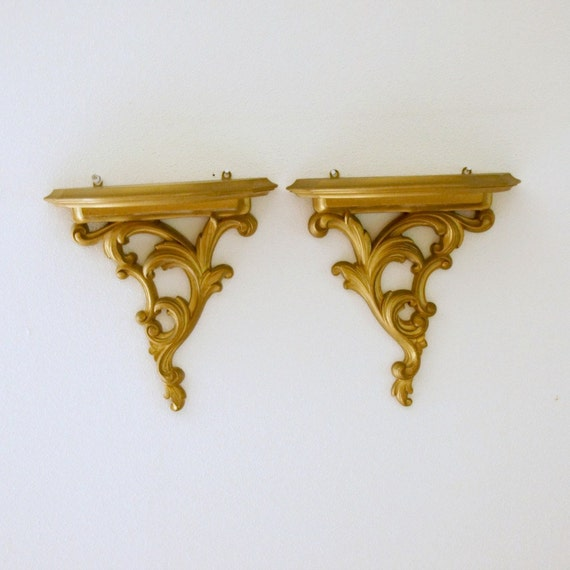 Wall Sconces Gold : Wall Decor: Syroco Wood Shelves Sconces Gold Hollywood