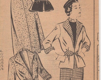 1940's Misses' Jacket and Skirt Mail Order Pattern 2327 Size 12 Bust 30 Waist 25 1/2 Hip 33