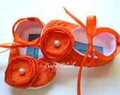 Orange Lace Vintage Baby Shoes Ballerina Slippers