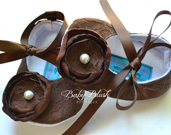 Brown Lace Vintage Baby Shoes Ballerina Slippers