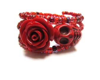 Sugar Skull Bracelet Day Of The Dead Wrap Cuff Red Rose