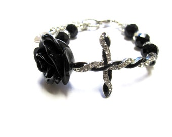Black Cross Rose Strand Bracelet