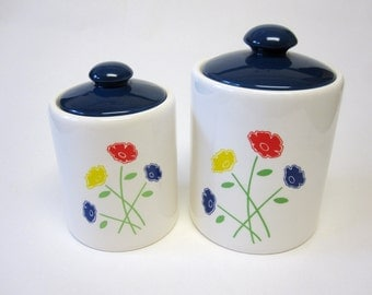 White Blue Poppy Flower Canisters Set of Two