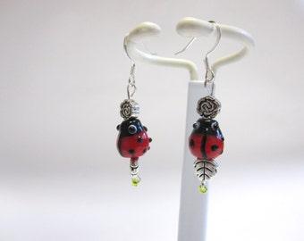 Ladybug Earrings Lampwork Rose Black Red Silver
