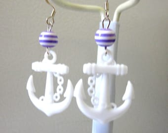 Anchor Earrings Nautical Rockabilly Pin Up Earrings Purple White