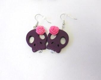 Day of the Dead Sugar Skull Earrings Purple Hot Pink Flower