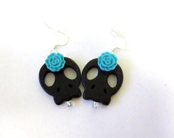 Sugar Skull Earrings Day of the Dead Black Blue Flower