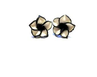 Black White Flower Earrings Hibiscus Post
