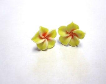 Yellow Flower Hibiscus Post Earrings