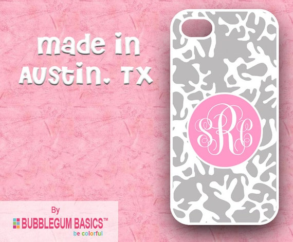 Custom Phone Case iPhone 6 5/5S 4/4S Samsung Galaxy S4 S5 - Gray Coral Pink Circle - Monogrammed Personalized