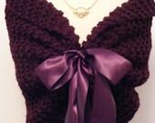Purple Shawl/Wedding Cover Up/Knit Shawl/Bridal Cape/Purple Wedding/Bridal Shawl/Fall Wedding/Wedding Shrug/Bride Bolero/Purple Cover Up